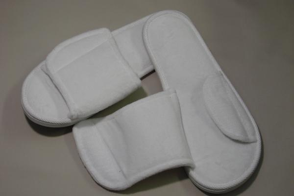 Slipper Open Toe Velour + Velcro